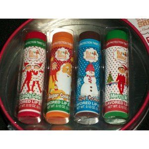 Elf on Shelf Set 4 Lip Balm Candy Cane Sugar Tin
